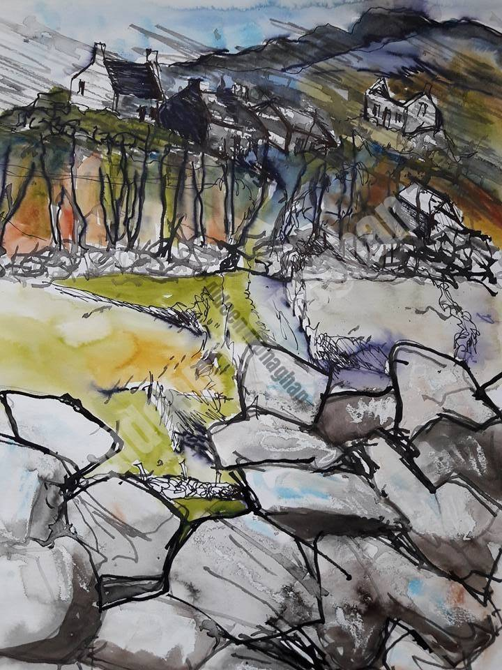 Inis Oirr, mixed media on paper, 32cm x 40cm, 2004