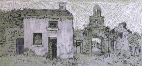 Deserted Farmhouse, charcoal and Chalk on Paper, 70 x 33cm.