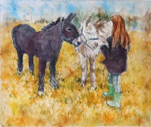 Two Donkeys and A Red-haired Girl