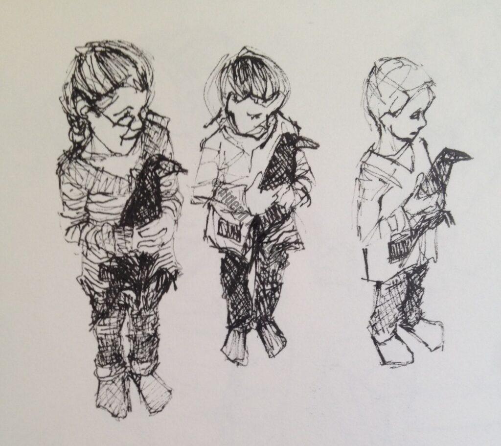 Children holding Rook, ink on paper, 12cm x 16cm, 2013