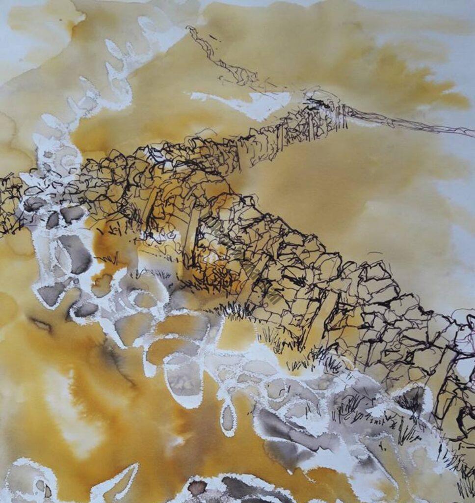 Mixed Media on Paper Connemara Stone Walls