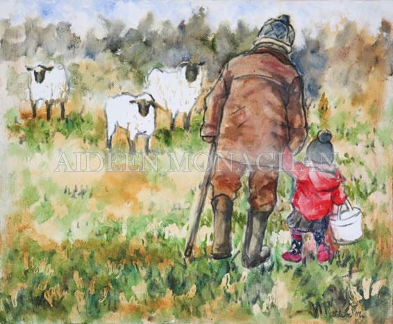 Freya and Grandad - Oil on Canvas