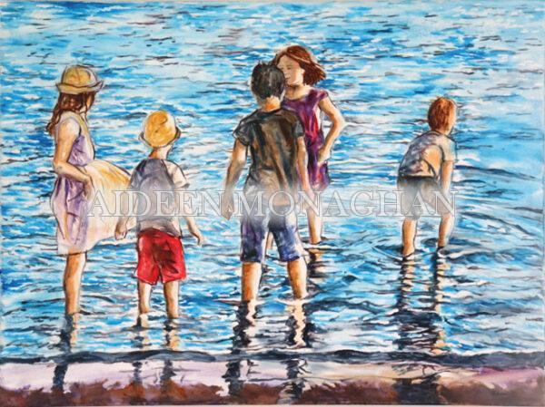 Children paddling Oil on Canvas